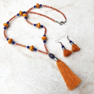 Orange and Blue Glass Tassel Necklace & Earrings