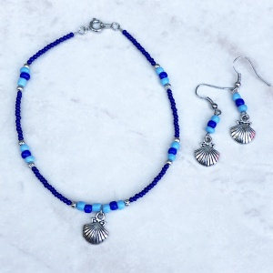 Blue and Turquoise Seashell Charm Anklet Set