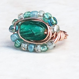 Orbit Teal Glass Copper Tone Wrapped Ring