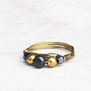 Freshwater Pearl and Iridescent Black Gold Tone Wrapped Rng