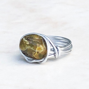 Green Stone Silver Tone Wrapped Ring