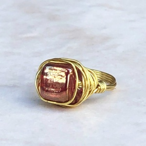 Iridescent Red Gold Tone Wrapped Ring