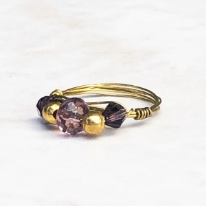 Purple Glass Gold Tone Wrapped Ring